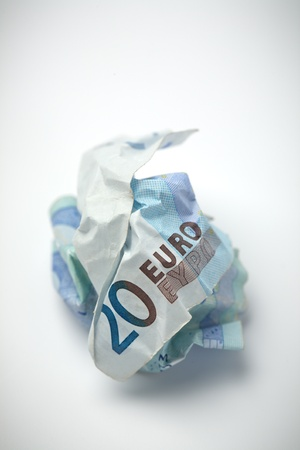 worthless: A twenty euros bill crumpled in a ball  Closeup image  Stock Photo