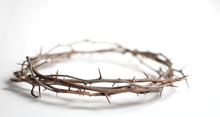 A crown of thorns with copy space. Photographed on plain background with very shallow depth of field.
