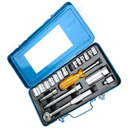 endings: An old tool set with various sized wrench endings and a screwdriver handle.