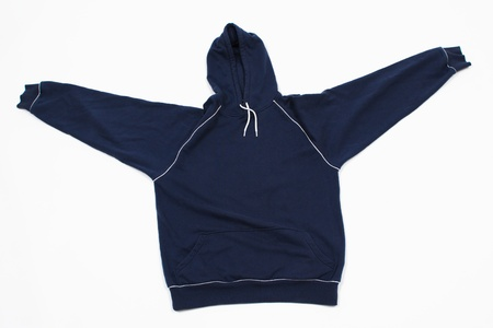 tog: A blue unisex sweatshirt with spread sleeves on plain background.