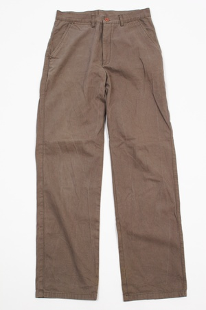 A pair of brown winter male trousers on white background.