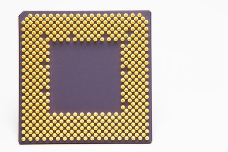 compute: A desktop computer CPU chip on plain background. Stock Photo