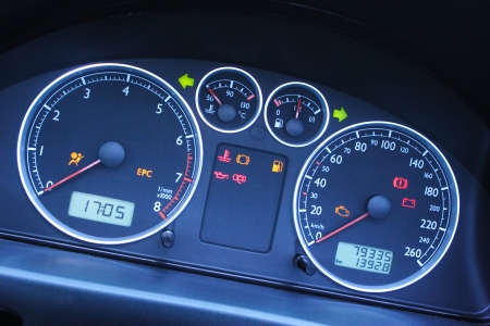 A Closeup On The Dashboard Of A Modern Car With Focus On The - Car signs on dashboardcar dashboard signs speedometer tachometer fuel and temperature