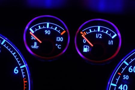 Fuel Gauge And Temperature Gauge Car Dashboard Stock Photo - Car signs on dashboardcar dashboard signs speedometer tachometer fuel and temperature