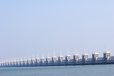 A photograph of part of the Dutch Delta Works - the Eastern Schelde storm barrier.