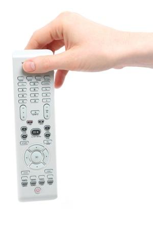rid: A Caucasian female hand dropping down a remote control