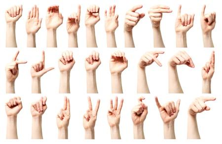 수화 - 백인 젊은 여성의 손에 의해 제시된 미국 수화 알파벳의 콜라주. 스톡 콘텐츠