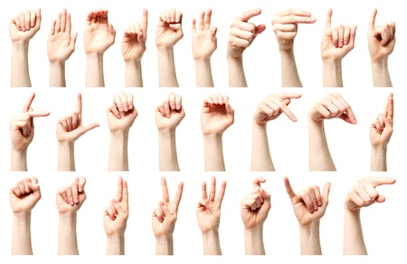 hand language: Sign language - a collage of the American sign language alphabet presented by a Caucasian young female hand.