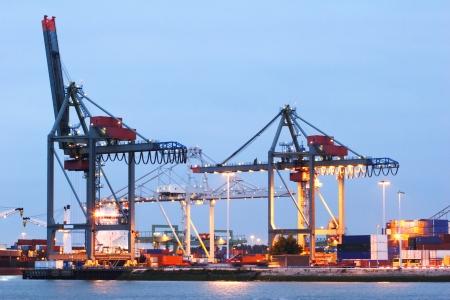 The Rotterdam harbor docks photographed at night. photo
