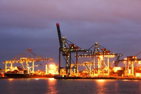 rotterdam: Night view of the Rotterdam harbor docks. Stock Photo