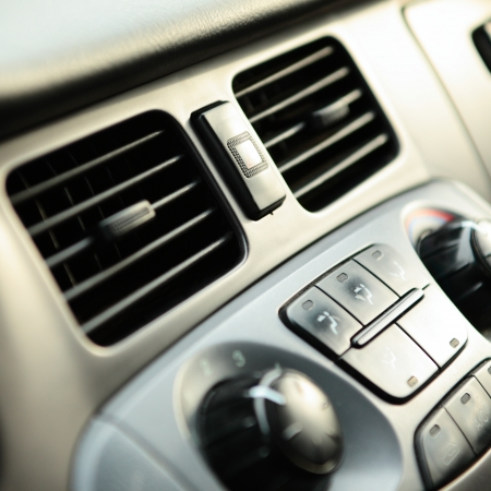 dash: Modern car ventilation controls. Stock Photo