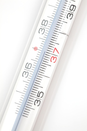 body temperature: A clinical thermometer showing a healthy body temperature of 37 degrees Celsius.