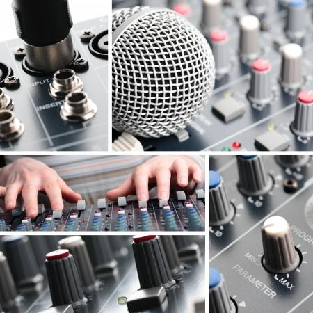 Een collage van professionele geluidsapparatuur.
