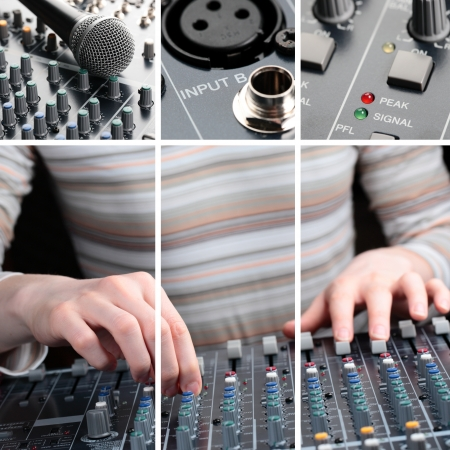 A collage of professional sound equipment and a woman working on it. photo