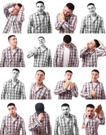 白い背景の上の若い白人男性の 16 のさまざまな表現。 写真素材