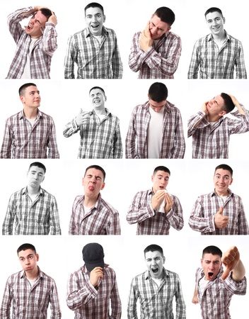 16 different expressions of a young Caucasian man over white background.