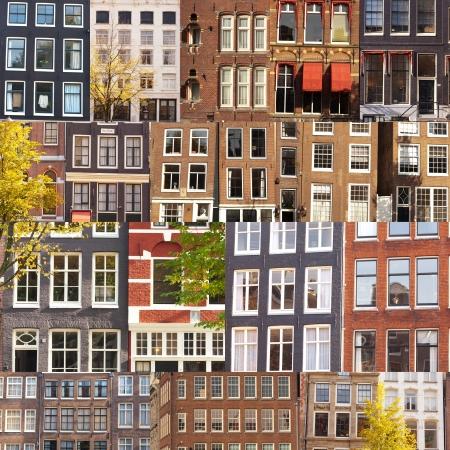 A kollázs sok tipikus épületek homlokzatán és ablakok Amsterdam, The Netherlands