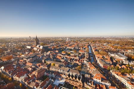 delft: The skyline of Delft, the Netherlands - a city famous for its Delft blue pottery