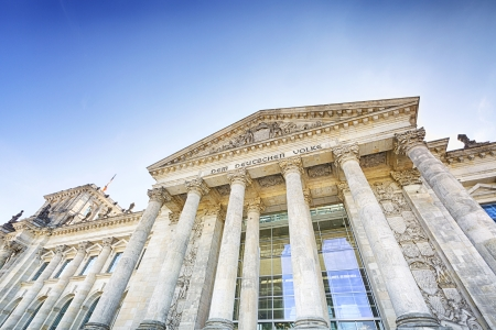 View of the entrance to the German parliament in Berlin - the Reichstag building  photo