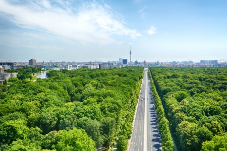 The Eastern part of the City of Berlin and the boulevard Unter den Linden, photographed from the top of the famous Victory Column.