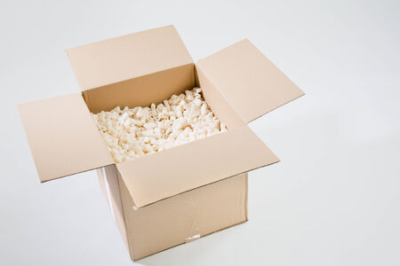 the padding: An open carton box with filling or padding over a plain background.