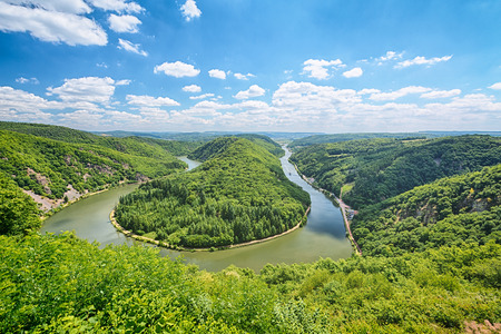 saar: Summer view of the Saar river bend in Germany, also known as Saarschleife as seen from the vantage point Cloef. Stock Photo