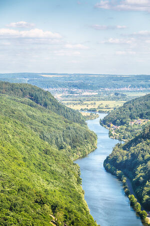 saar: Landscape scenery view of the river Saar as it curves through a mountainous area near the city of Mettlach, Germany.