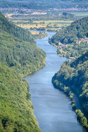 saar: Closeup view of curves in the river Saar near the city of Mettlach, Germany.