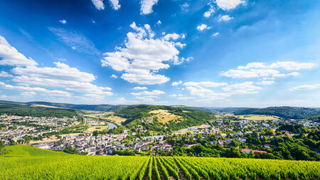 saar: Panoramic view of the town of Saarburg, Germany with the river Saar, surrounding mountains and vineyards. Stock Photo