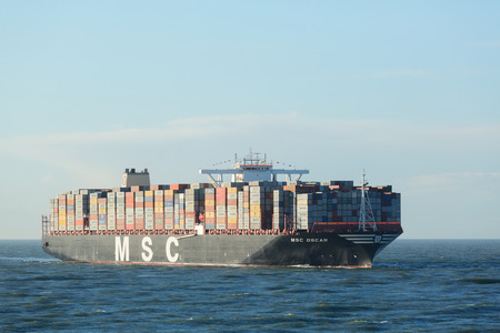 oscar: ROTTERDAM, THE NETHERLANDS - MARCH 3 2015: The MSC Oscar container ship enters the Port of Rotterdam for the first time. The largest container ship in the world at the time of photographing. Editorial