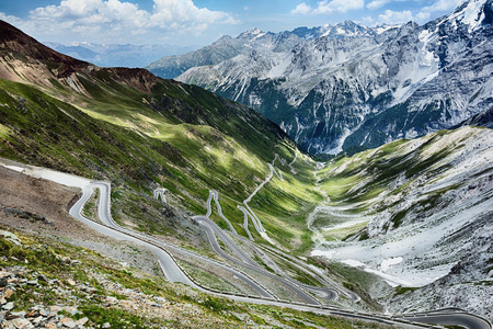 The famous Stelvio pass road in Italy - an ultimate driving experience with hairpin turns and scenic mountain views.