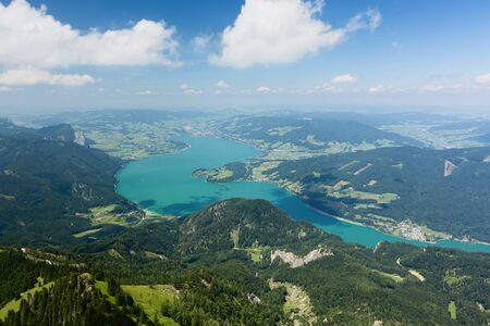mountaintop: Lake Mondsee in the Salzburg province of Austria on a sunny summer day. Photographed from the Schafberg mountaintop.