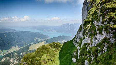 mountaintop: Summer view over Attersee lake from the Schafberg mountaintop in Austria, Salzburg province. Stock Photo