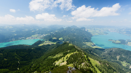 mountaintop: Mountaintop view over lakes Wolfgangsee (left) and Mondsee (right) in Austria. Photographed from the Schafberg mountaintop.