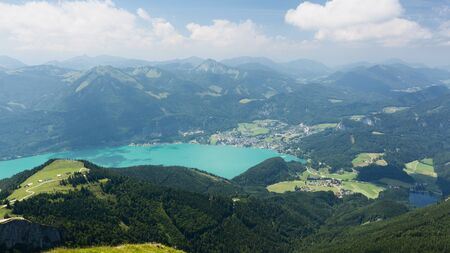 mountaintop: Mountaintop view over lake Wolfgangsee in Austria, as seen from the Schafberg mountaintop on a sunny summer day. Stock Photo