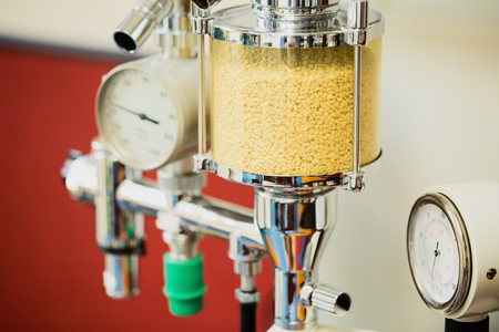 anesthetize: Closeup of an anesthesia machine in the operating room of a vet clinic.