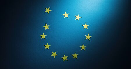 Brexit concept - a star from the flag of Europe (European Union) is placed outside of the circle.