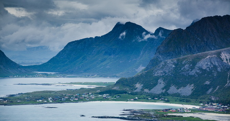 A distant view over the town of Ramberg on the Lofoten Islands, Norway.
