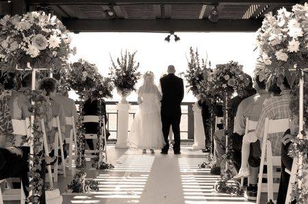 couple get married in front of family and friends Stok Fotoğraf