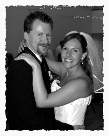 curare teneramente: grooms sposa e danza  Archivio Fotografico