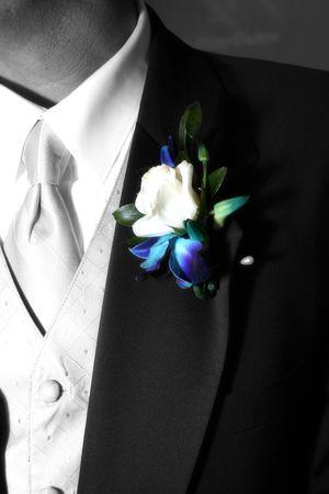 grooms colorufl corsage