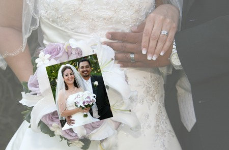 a picture with a picture of bride and groom and their rings