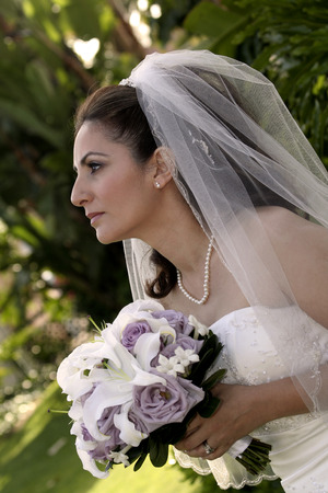 side view of a lovely bride