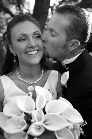 groom kisses his bride Standard-Bild