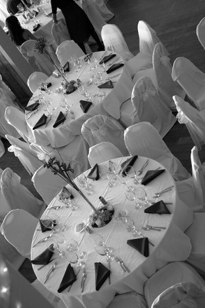 a room set up for a wedding reception