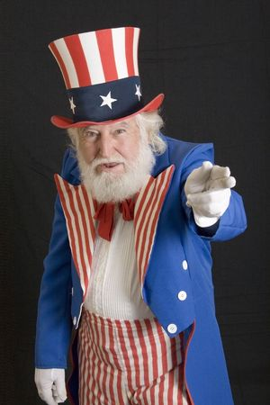 sam: an old man dressed as uncle sam