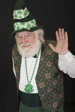 an old man dressed as a Leprechaun