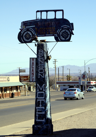 oldish:  33   Historic   infamous broken down Benson Motel in Benson, Arizona, USA Editorial
