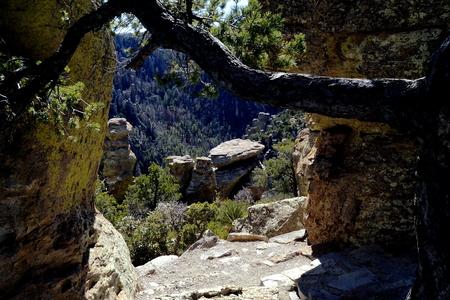 39 Chiricahua Monumento Nacional Una de las maravillas de Rocks cadena montañosa llamada la Tierra de las rocas de pie plano por los Apaches Chiricahua Foto de archivo