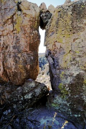 41 Chiricahua Monumento Nacional Una de las maravillas de Rocks cadena montañosa llamada la Tierra de las rocas de pie plano por los Apaches Chiricahua Foto de archivo